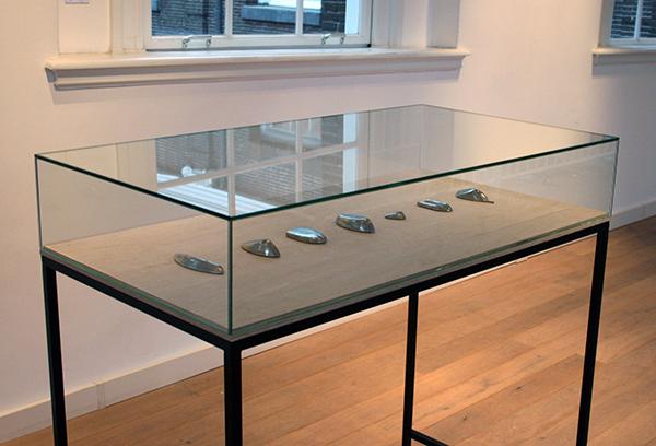 Tamara Dees - Failures - Vitrine met 6 tinnen sculpturen