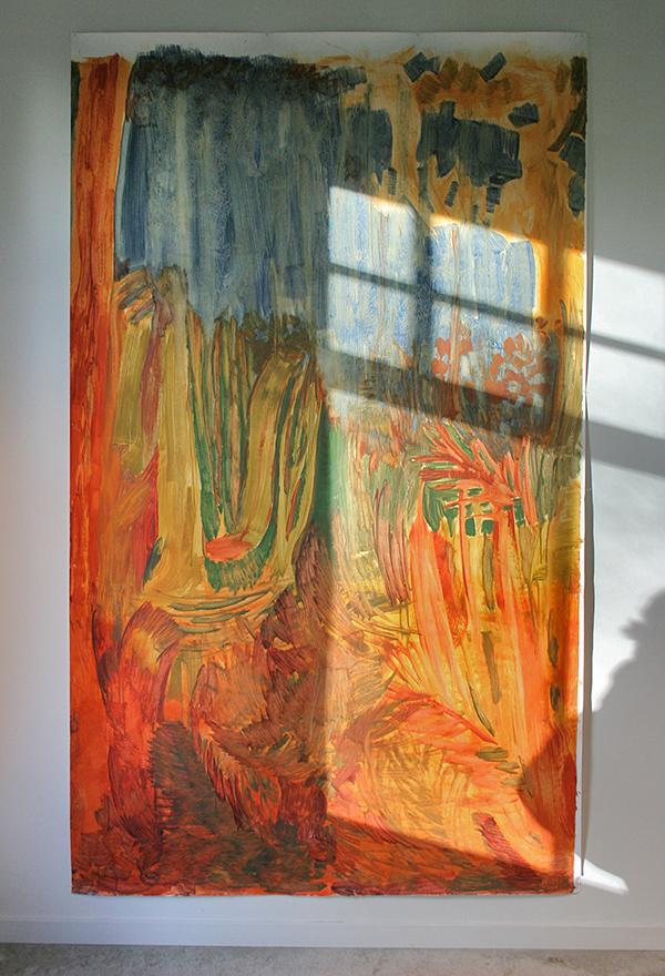 Tessa Chaplin - Zonder Titel - 200x150cm Olieverf op papier