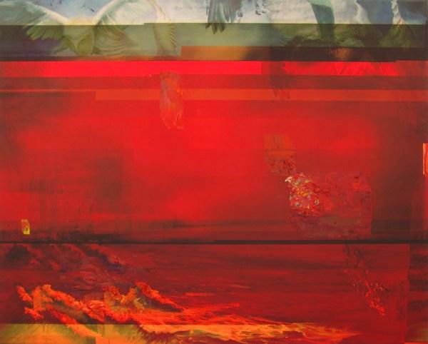 Valerie Zwart - Hexwaves_mod1 - 80x100cm Olieverf op digitale print, 2015