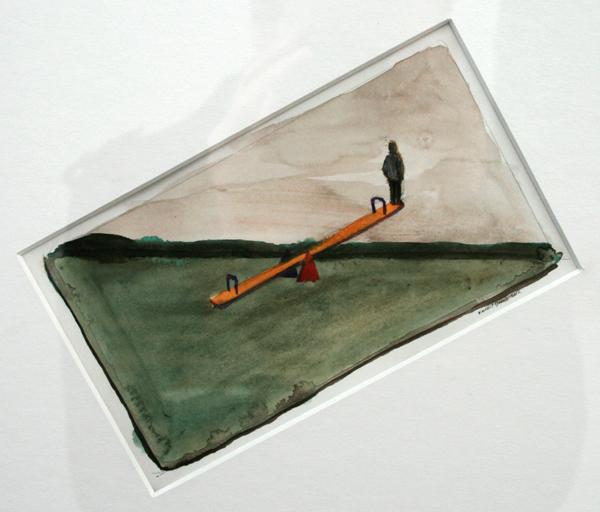 Vincent Dams - Guess What I seesaw - 9x17cm Aquarel op papier