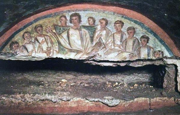 Vroeg Christelijke catacombe, afbeelding van Jezus en zijn apostelen
