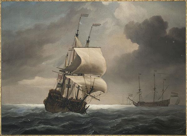 Willem van de Velde - Schilderij met voorstelling van twee driemasters - 54x74cm Olieverf op doek