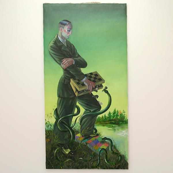 Yuri Rodekin - Green Snake - 170x85cm Olieverf op canvas