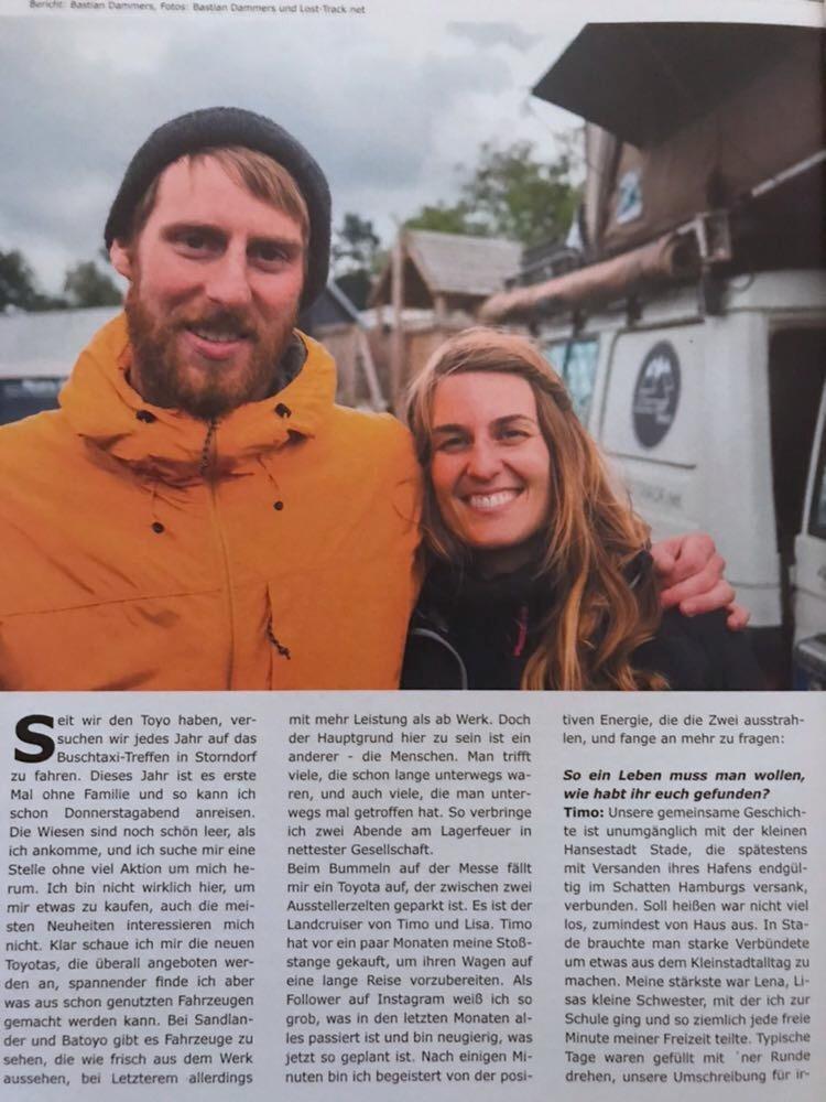 Lost Track Presse Allradler Magazin 01/2018 Buschtaxitreffen 2017 Offroad 4x4 Zeitschrift Zeitung Zeitungsartikel Presseartikel Weltreise