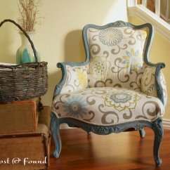 Diy Reupholster Living Room Chair Ideas Navy Blue Accents How To A French Makeover Reveal Lost Found Reupholstered