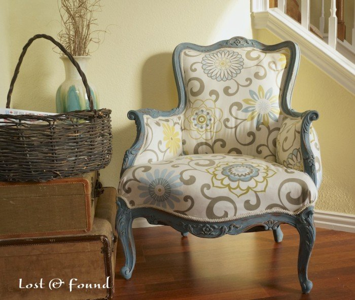 DIY Reupholstered French Chair