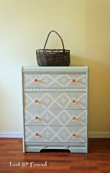 Hand-Painted Waterfall Chest of Drawers
