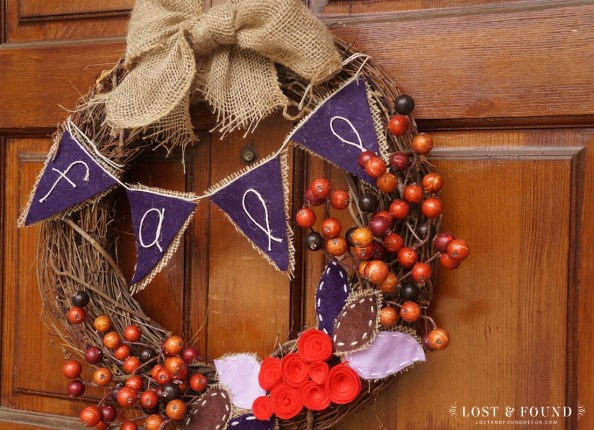 cool color scheme fall wreath