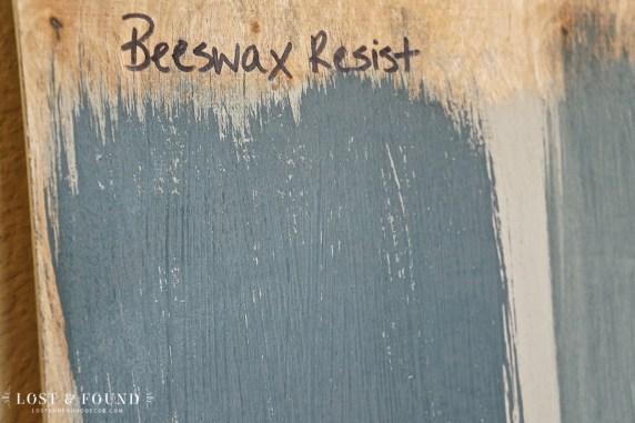 Wax resist paint technique