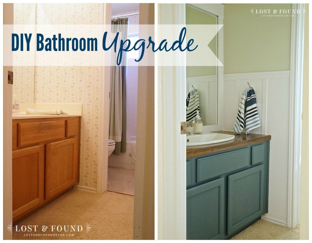 DIY Bathroom Upgrade before and after