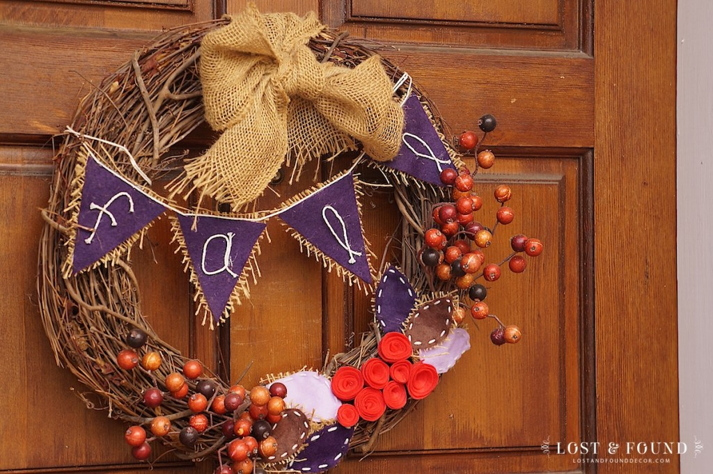 Fall Wreath with purple and berries