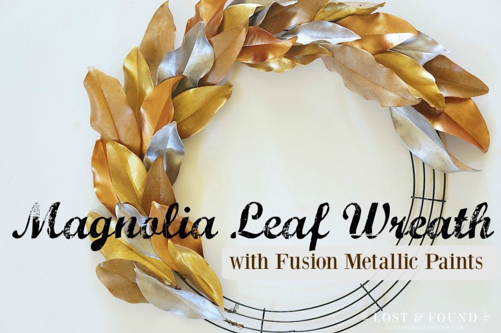 How to embellish a magnolia leaf wreath using Fusion metallic paint