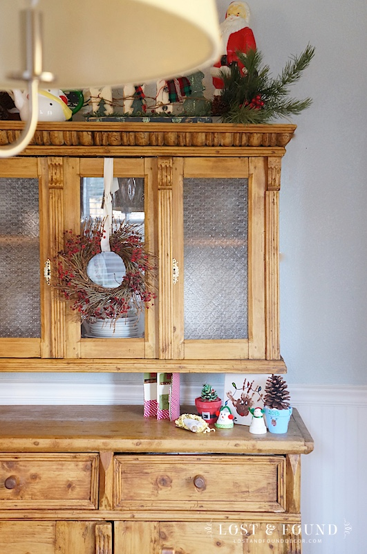 Antique Pine Hutch decorated for Christmas