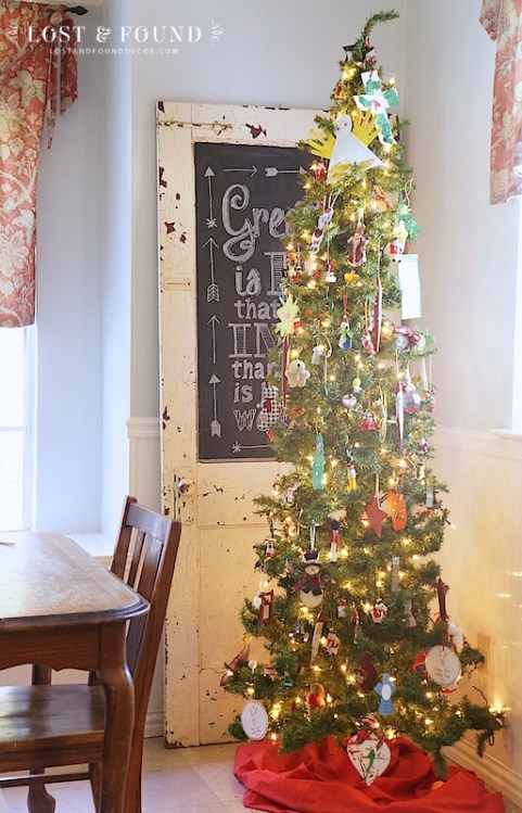 Set aside a smaller tree to showcase all of your kiddo's handmade ornaments