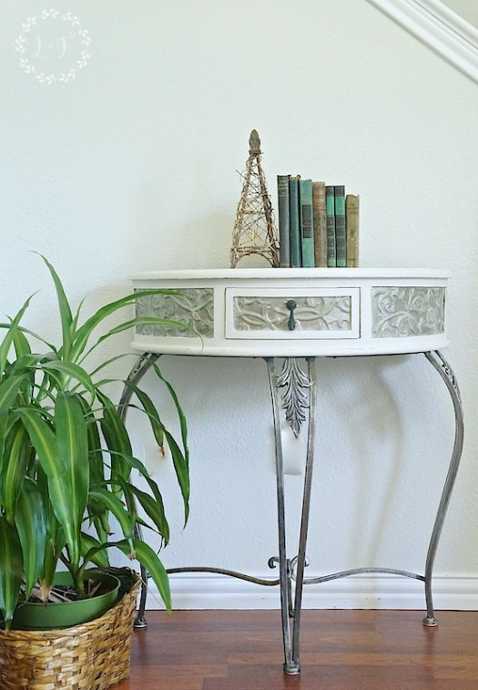 Side Table Makeover Fusion Metallics before and after