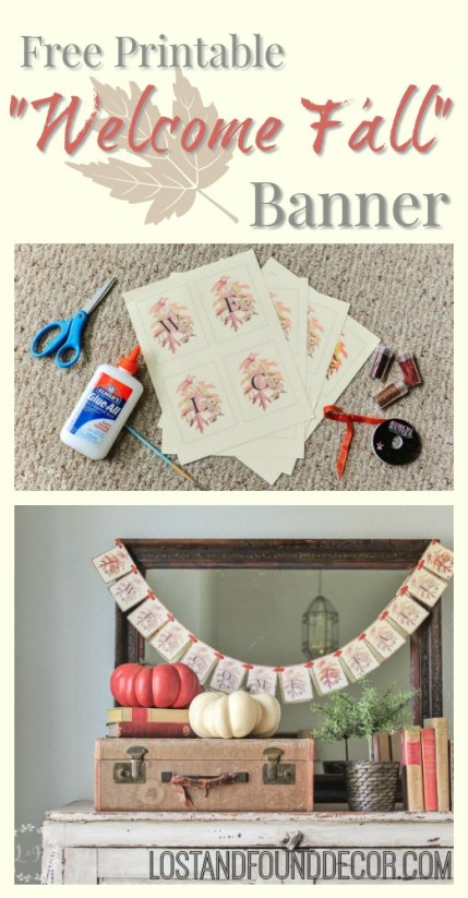 "Free Printable you can use to make your own ""Welcome Fall"" paper banner"