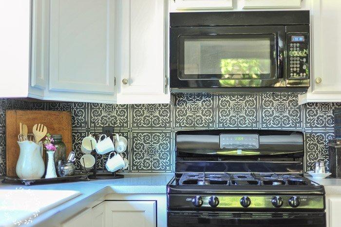 backsplash stick on tiles kitchen tile floors diy high end patterned look with peel ...