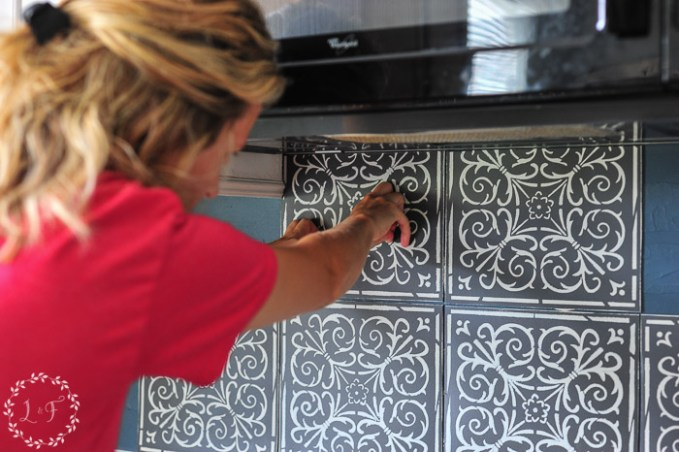 kitchen-tile-stencil-makeover-in-progress-2