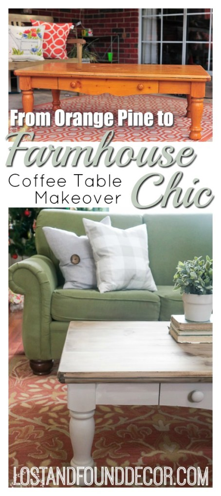 pine coffee table makeover farmhouse style lost found. Black Bedroom Furniture Sets. Home Design Ideas