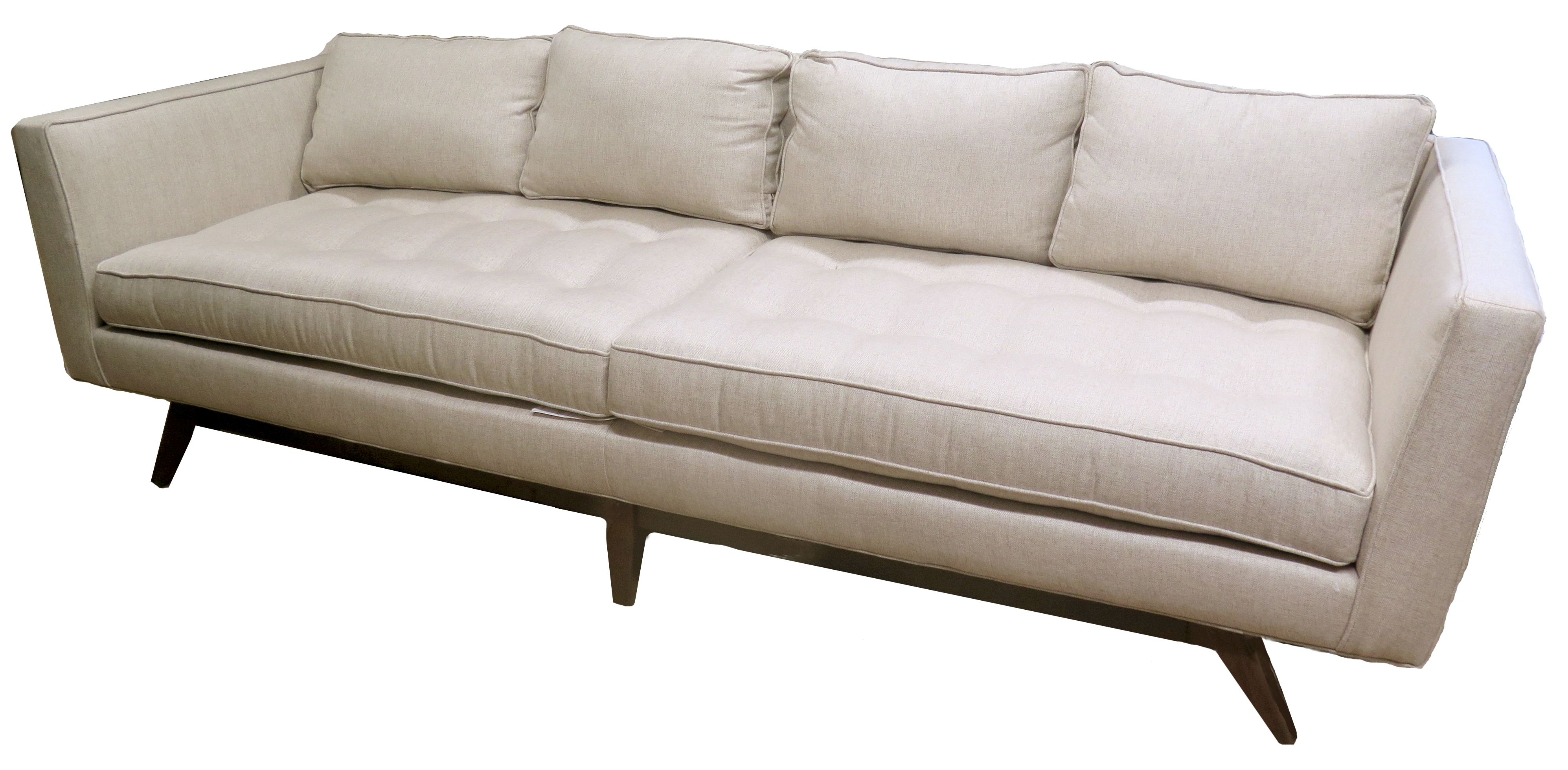 oatmeal sofa dining table and in living room tufted upholstered with tapered wood legs bk lost