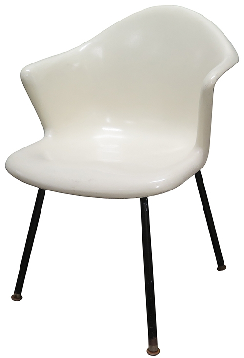 fiberglass shell chair backpack with attached eames herman miller 60 s white lost and found