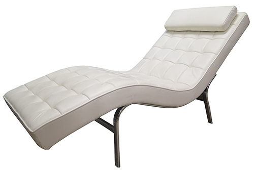 white tufted barcelona style chaise lounge bk