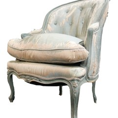 French Bergere Chair Back Covers Ebay Antique With Gray Wood Frame And Distressed Silk Velvet Fabric Bk Lost Found