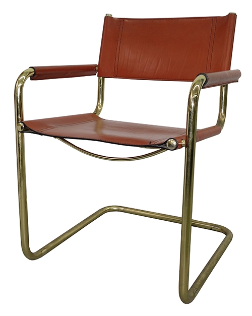 leather dining room chairs how to hang a hammock chair indoors vintage 60 s 70 cognac color with brass plated frame 4 in bk