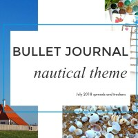 Bullet Journal July 2018 - nautical spreads, shells, lighthouses and more