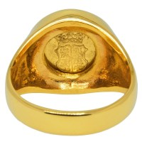 1751 Spanish Half Escudo Gold Mens Ring