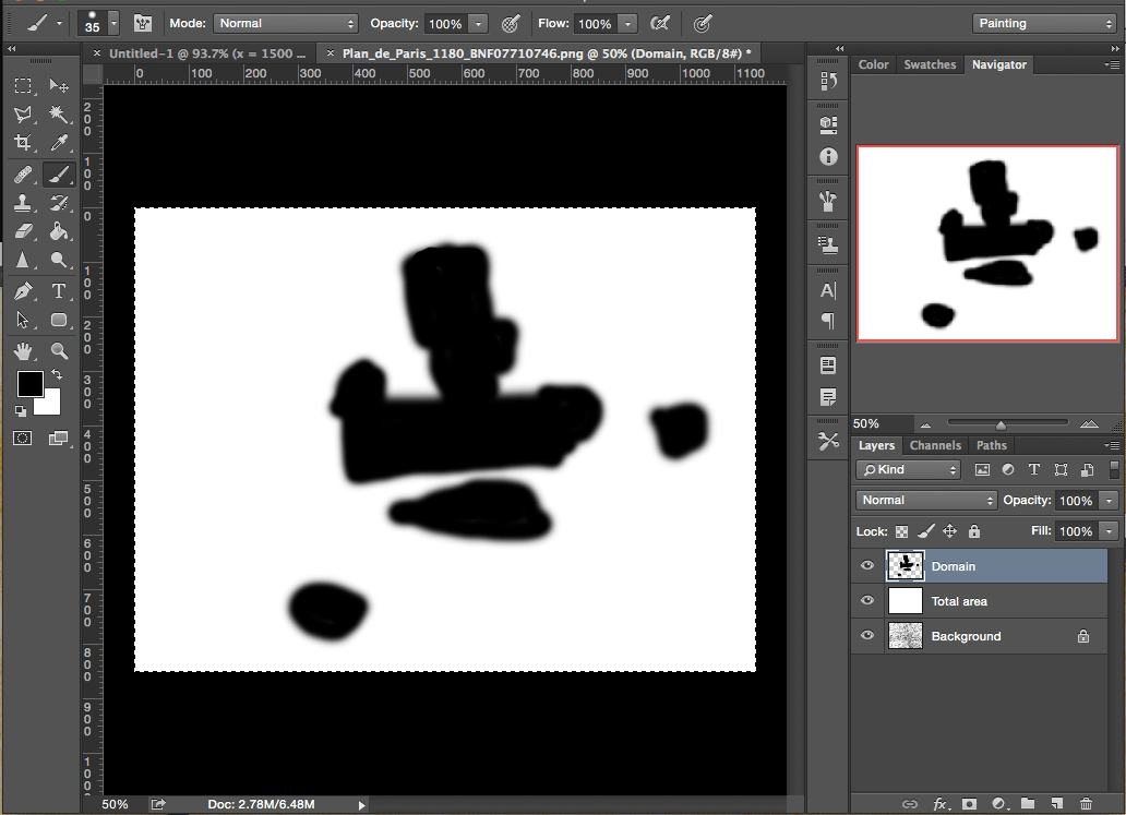Surface area of an irregular shape in Photoshop: Full area