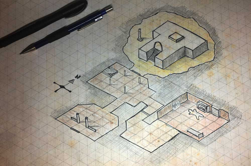 Isometric map template and mini-tutorial