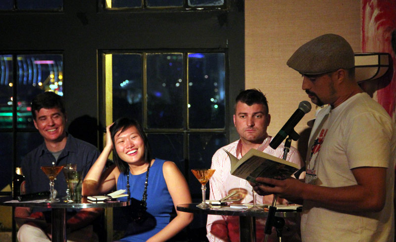 Tom Carter reading from Unsavory Elements at Literary Death Match in Shanghai
