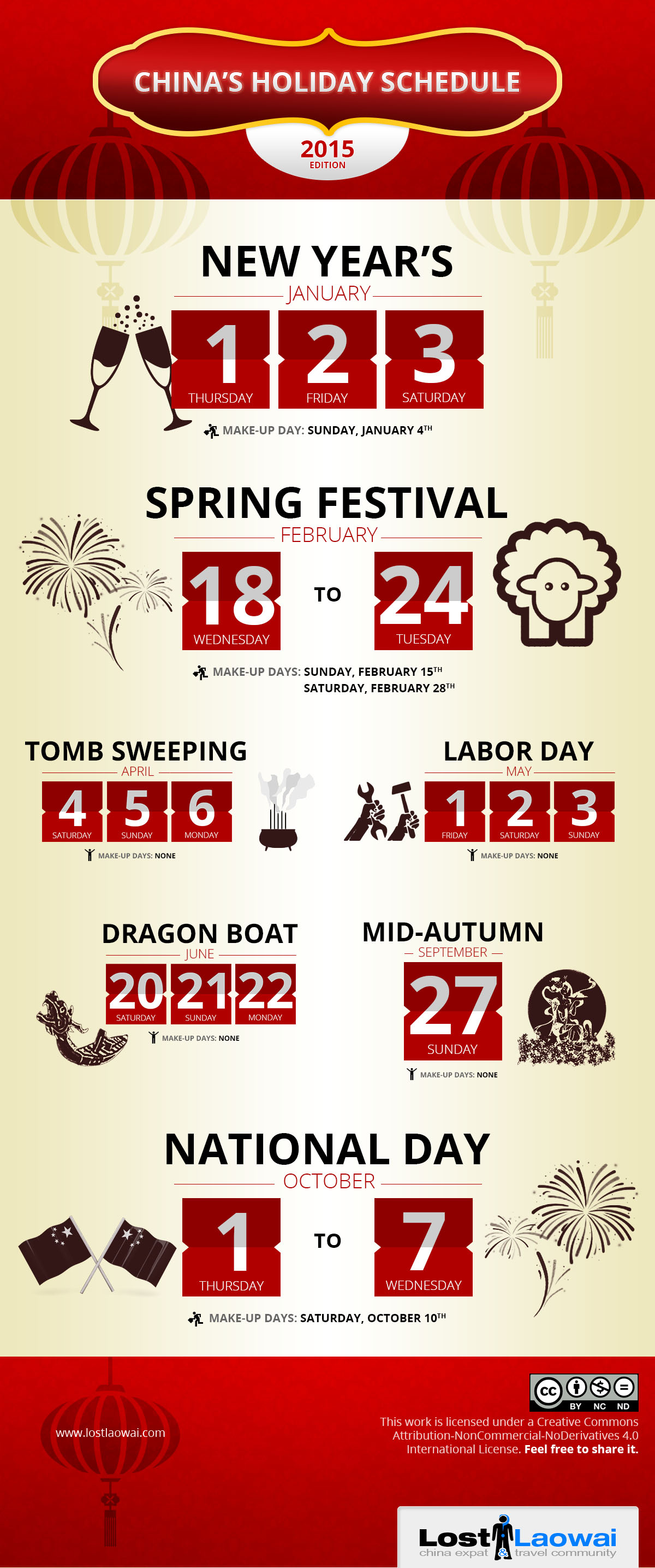 China Holiday Schedule 2015 Infograph by Lost Laowai