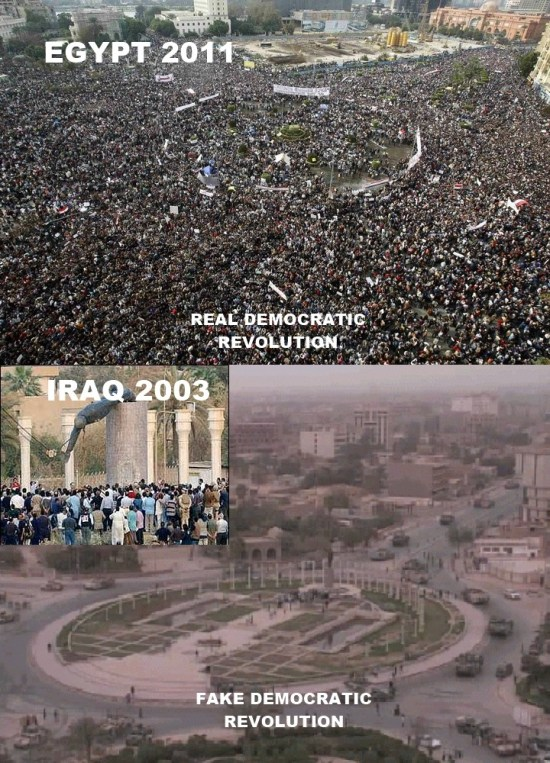 Egypt Protests vs. toppling of Saddam statue