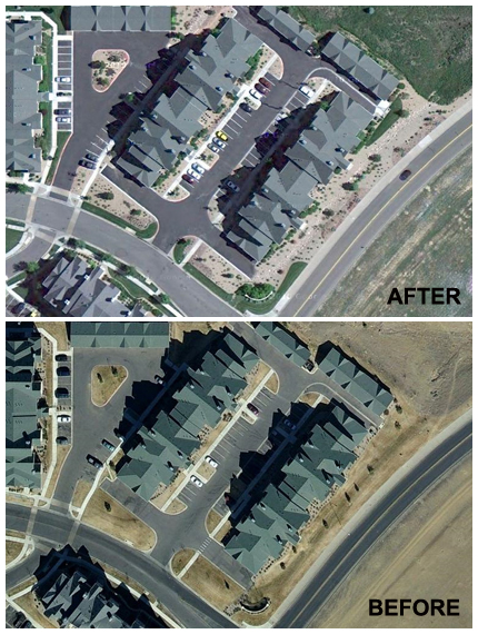 Landscape Renovation Before and After Aerial Image