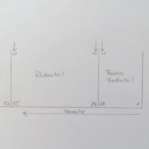 Zunahmen für Ärmelnaht Rechtes Vorderteil und Rückenteil