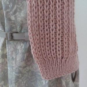 LOTILDA Strickjacke im Patentmuster aus Baumwolle Alpaka Bündchen
