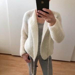 LOTILDA Raglan Mohair Kurzjacke Strickjacke Cardigan mit breitem Kragen