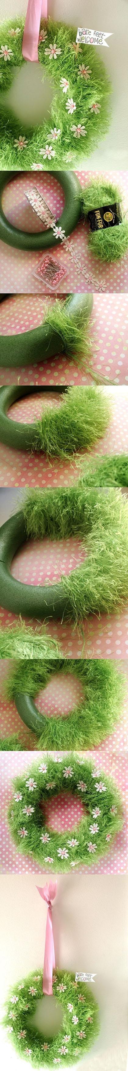"""Adorable """"Bare Feet Welcome"""" DIY Spring Wreath Idea via The Creative Place"""