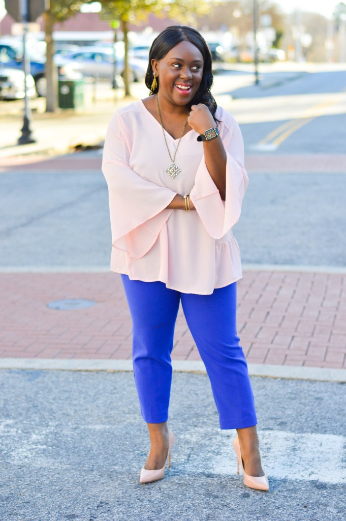 what to wear to the office for her with pinkblush and old navy harper pants with steve madden bailie pointy pumps