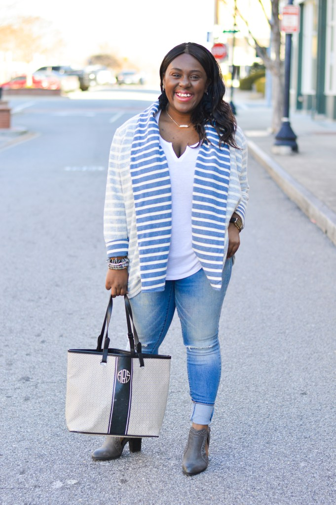what to wear for a casual look to run errands ripped jeans striped sweater white tee booties and monogrammed bag