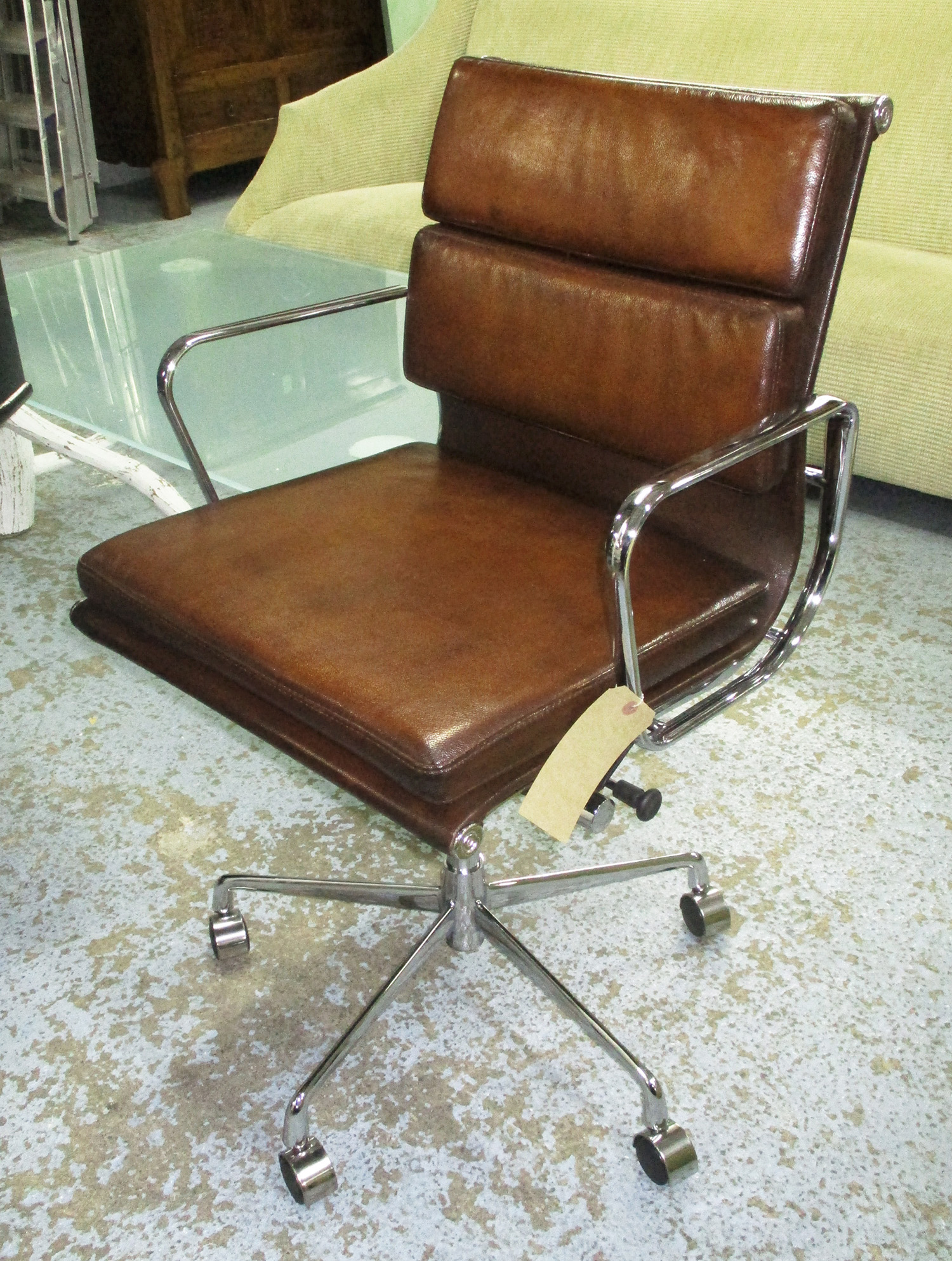 revolving desk chair cross back chairs white charles eames inspired with hand