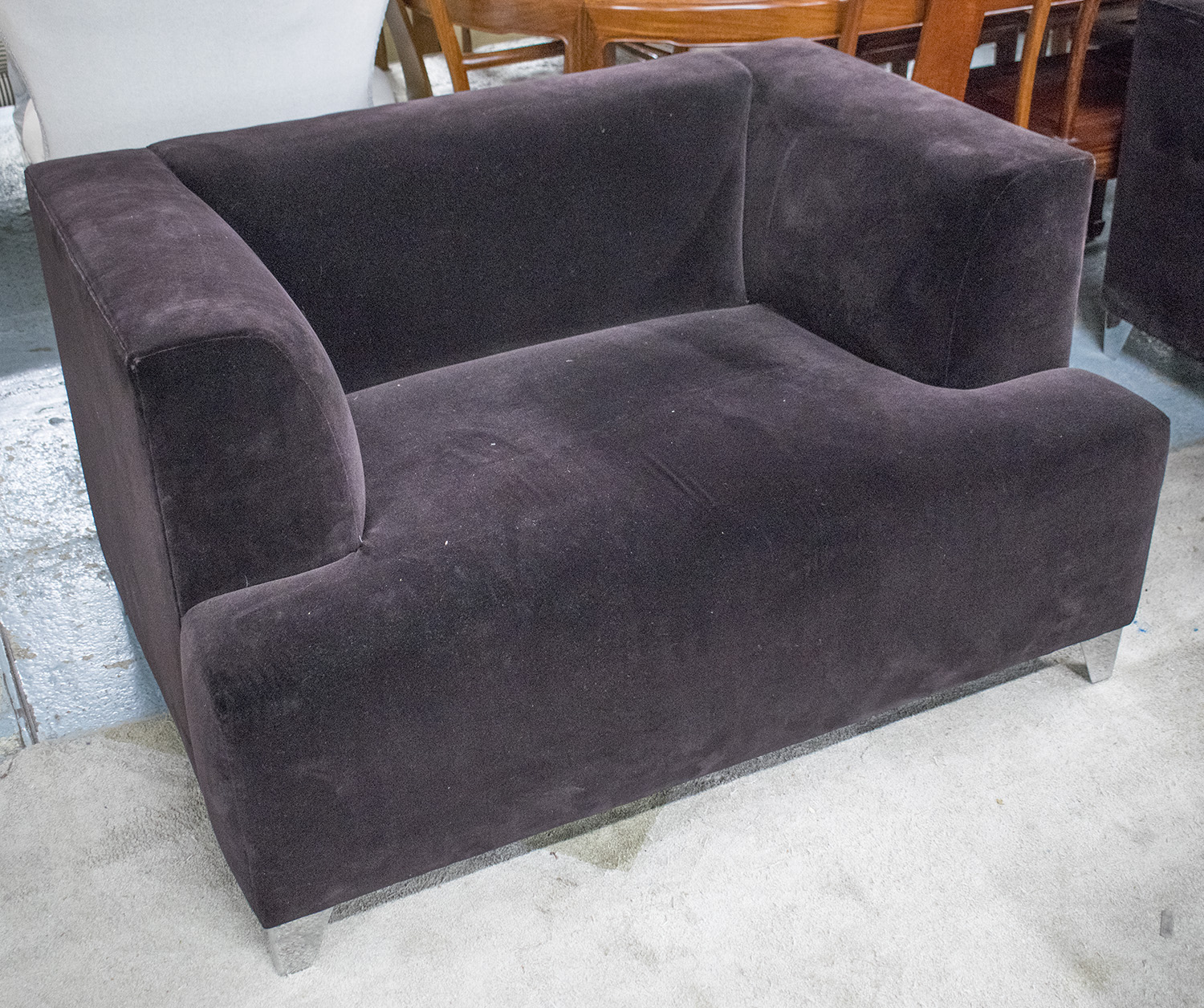 purple velvet upholstered sofa sets under 500 dollars armchair of square form
