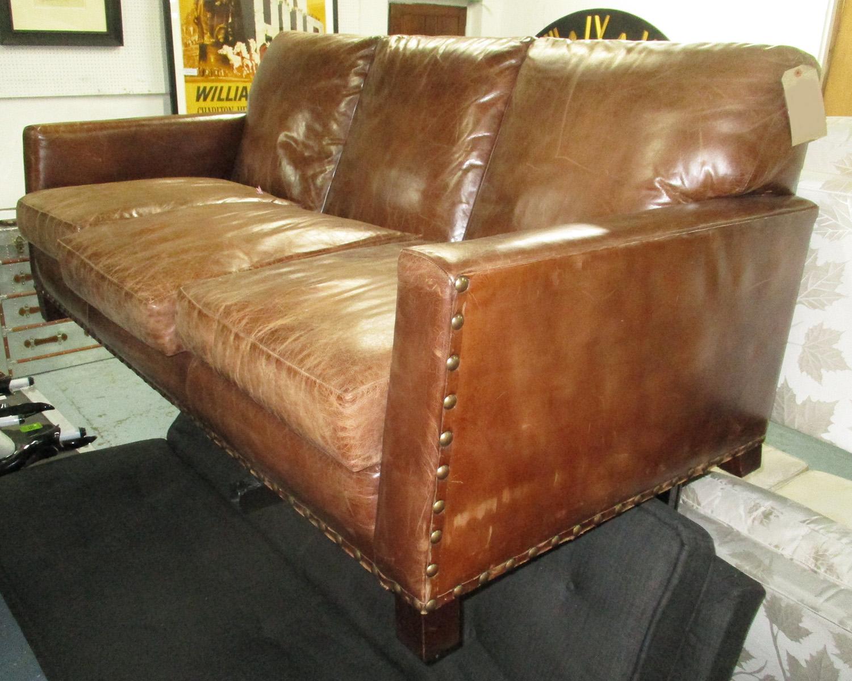 brown leather studded sofa air bed sleeper ralph lauren detail 90cm d x