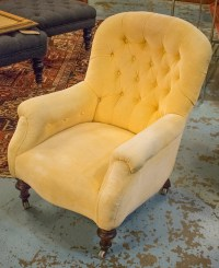 NURSING CHAIR, Victorian walnut with primrose yellow ...