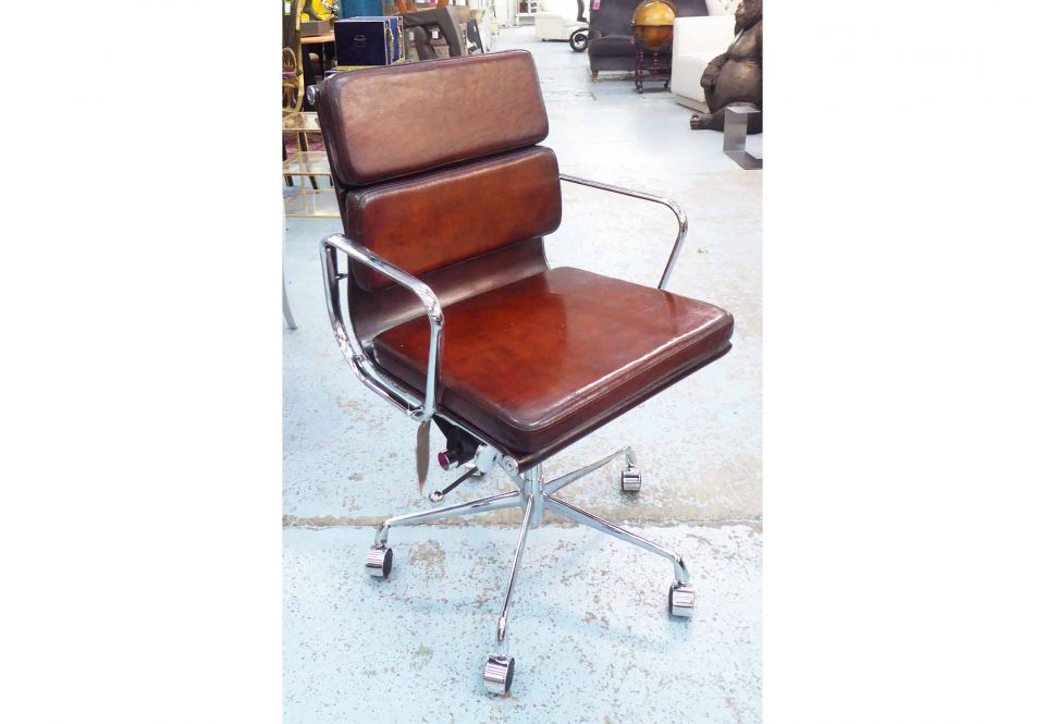 chair revolving steel base with wheels rubber caps for legs desk charles eames inspired padded leaf brown image