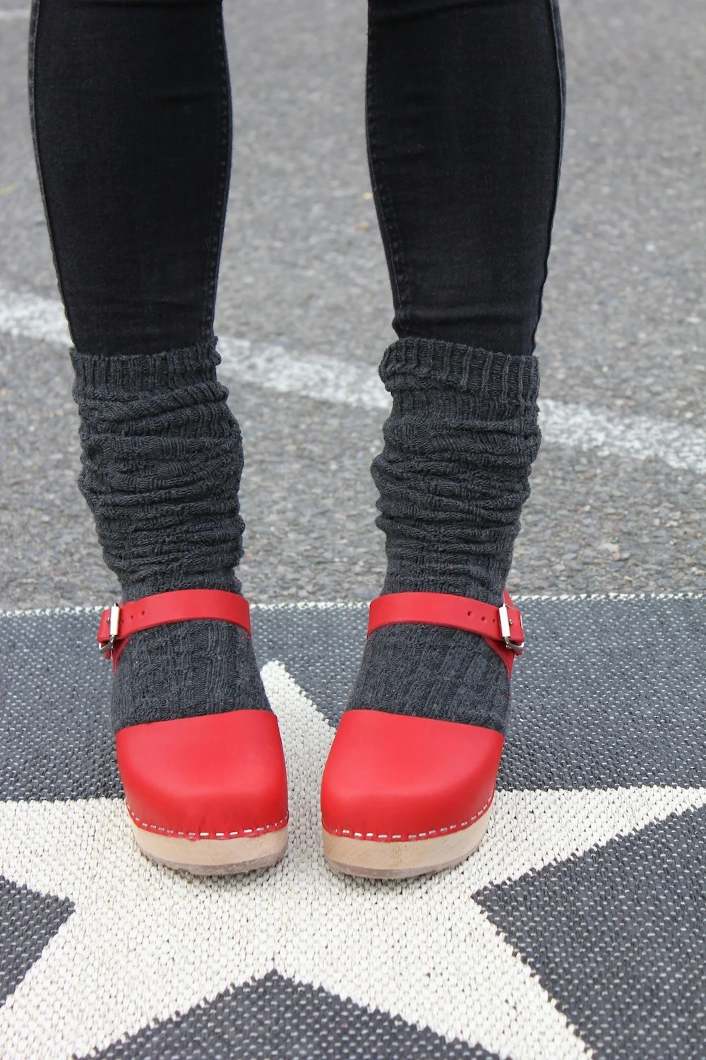 Clogs with tights and socks  Lotta