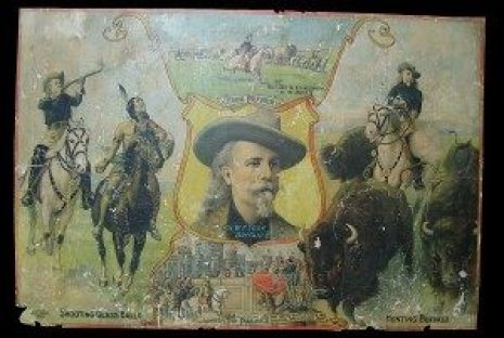 """restoration before and after 19th Century poster advertising Buffalo Bill Cody's """"Wild West"""" Show"""
