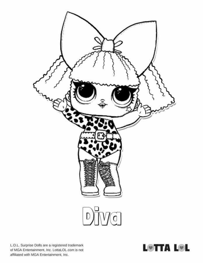 Diva Lol Surprise Doll Coloring Page Lotta Lol
